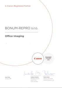 Certifikát Canon