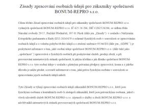Zásady zpracování osobních údajů pro zákazníky dle GDPR_stránky www