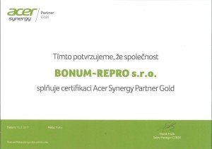 certifikát Acer