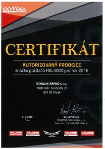 certifikát prodej Hal